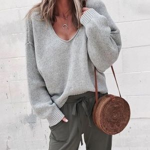Sweaters - Oversized Knit Grey Sweater